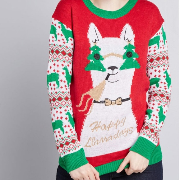 Llama Christmas Sweater.Happy Llama Days Ugly Christmas Sweater